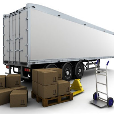 3D render of freight trailer and shipping boxes